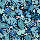 vector seamless blue with pink tropical rainforest allover pattern with flowers
