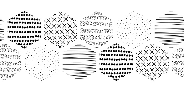 Vector Seamless border abstract Geometric Black and White Hexagon Honeycomb Shapes. Stylish Tiles with different doodle textures. Monochrome modern hipster banner, footer, header, divider, decor.