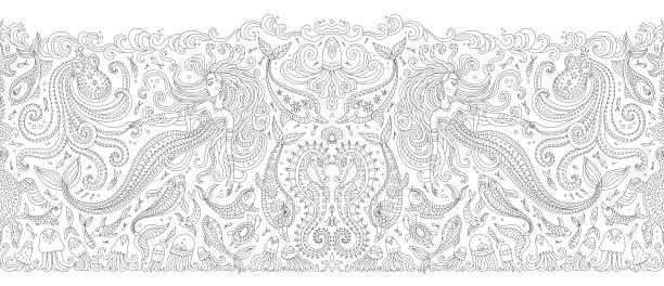 ilustraciones, imágenes clip art, dibujos animados e iconos de stock de vector sin costuras border patrón en blanco y negro. fantasía sirena, pulpo, pescado, el contorno animal de mar dibujo línea delgada. adultos página libro para colorear, bordado, papel pintado, estampado textil, papel de envolver - tatuajes de sirenas