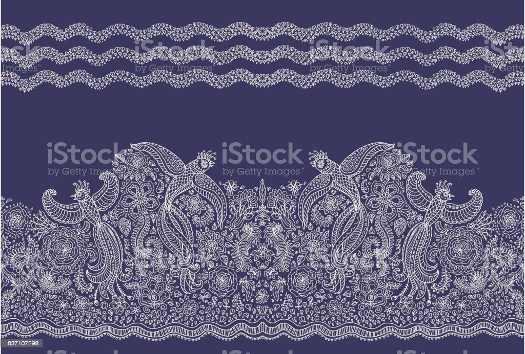 Vector seamless border in ethnic style. Exotic flying birds, beige contour thin line drawing folk ornaments on a dark indigo blue background. Embroidery, wallpaper, textile print, wrapping paper vector art illustration