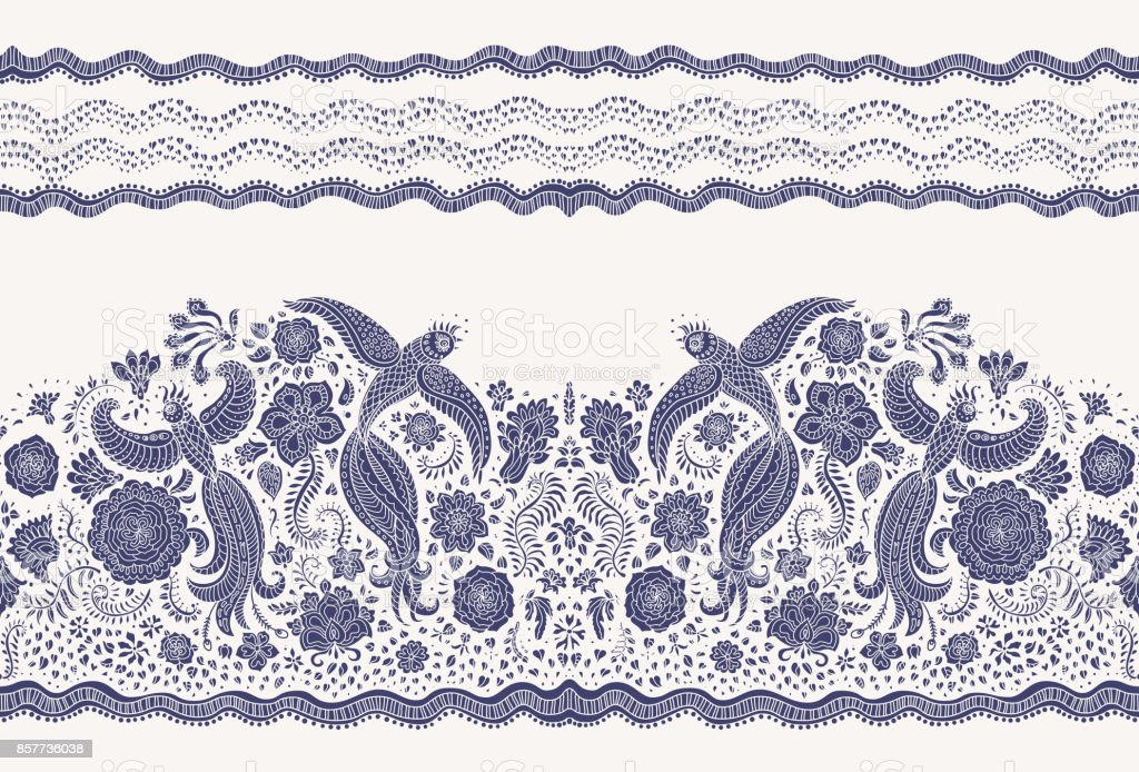 Vector seamless border in ethnic style. Exotic flying peacock birds, dark indigo blue folk ornaments on a light beige background. Embroidery, wallpaper fringe, textile print, wrapping paper vector art illustration