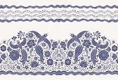 Vector seamless border in ethnic style. Exotic flying peacock birds, dark indigo blue folk ornaments on a light beige background. Embroidery, wallpaper fringe, textile print, wrapping paper