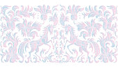 Vector seamless border pattern. Fantasy blue and pink unicorn horse, tree, flowers, leaves with ornaments on a white background. Embroidery, wallpaper fringe, textile print, wrapping paper