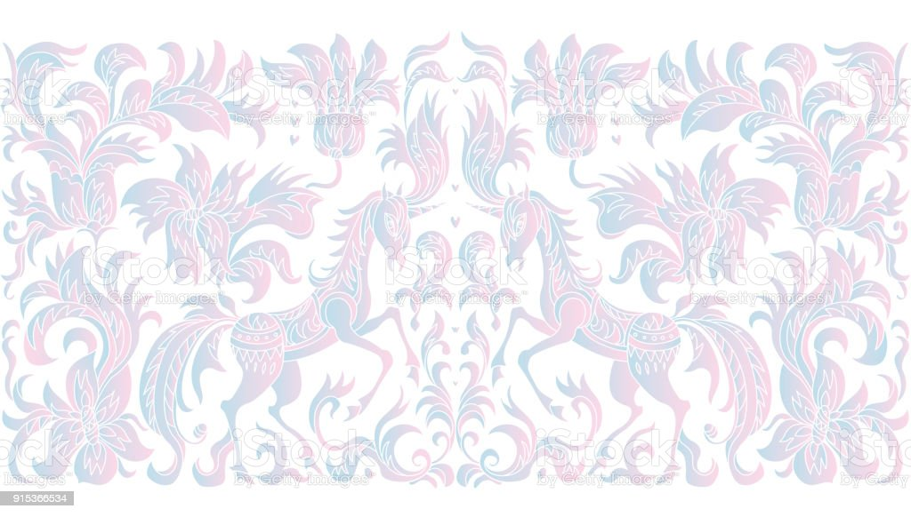 Vector seamless border pattern. Fantasy blue and pink unicorn horse, tree, flowers, leaves with ornaments on a white background. Embroidery, wallpaper fringe, textile print, wrapping paper vector art illustration