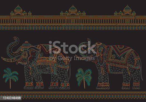 Vector seamless border pattern with fantasy ornate Indian elephant, tropical palm tree, antique architecture temple. Colorful thin line, ethnic ornaments on black background. T-shirt print.Batik paint