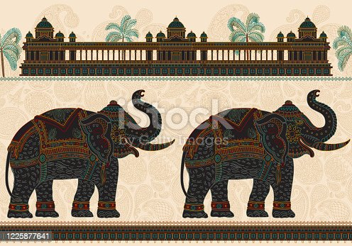 Vector seamless border pattern with ornate Indian elephant, tropical palm tree, antique architecture temple. Colorful thin line, Paisley ornaments on a beige background.T-shirt print. Batik silk paint