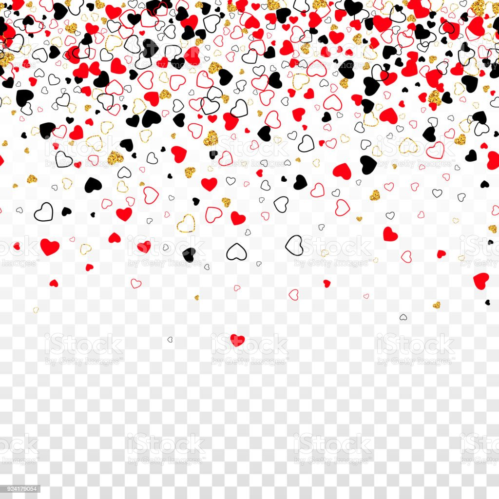 Vector Seamless Border With Golden Glitter Line Color Confetti Heart Isolated On Transparent Background