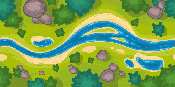 Vector seamless border with river top view