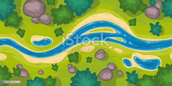 Flowing river top view. Vector seamless border with nature landscape with blue water stream, green grass, trees and rocks. Illustration of summer scene with brook flow with sand shore