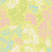 Vector seamless botanical pattern. Flat meadow stalks, herbs and foliage. Herbarium illusion. Simple background for textile, fabric, wallpaper and surface.