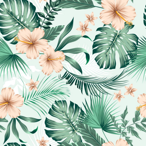 vector seamless botanical tropical pattern with flowers vector seamless botanical tropical pattern with flowers. Lush foliage floral design with monstera leaves, areca palm leaves, fan palm, hibiscus flower, frangipani flower. Modern allover background. hawaiian culture stock illustrations
