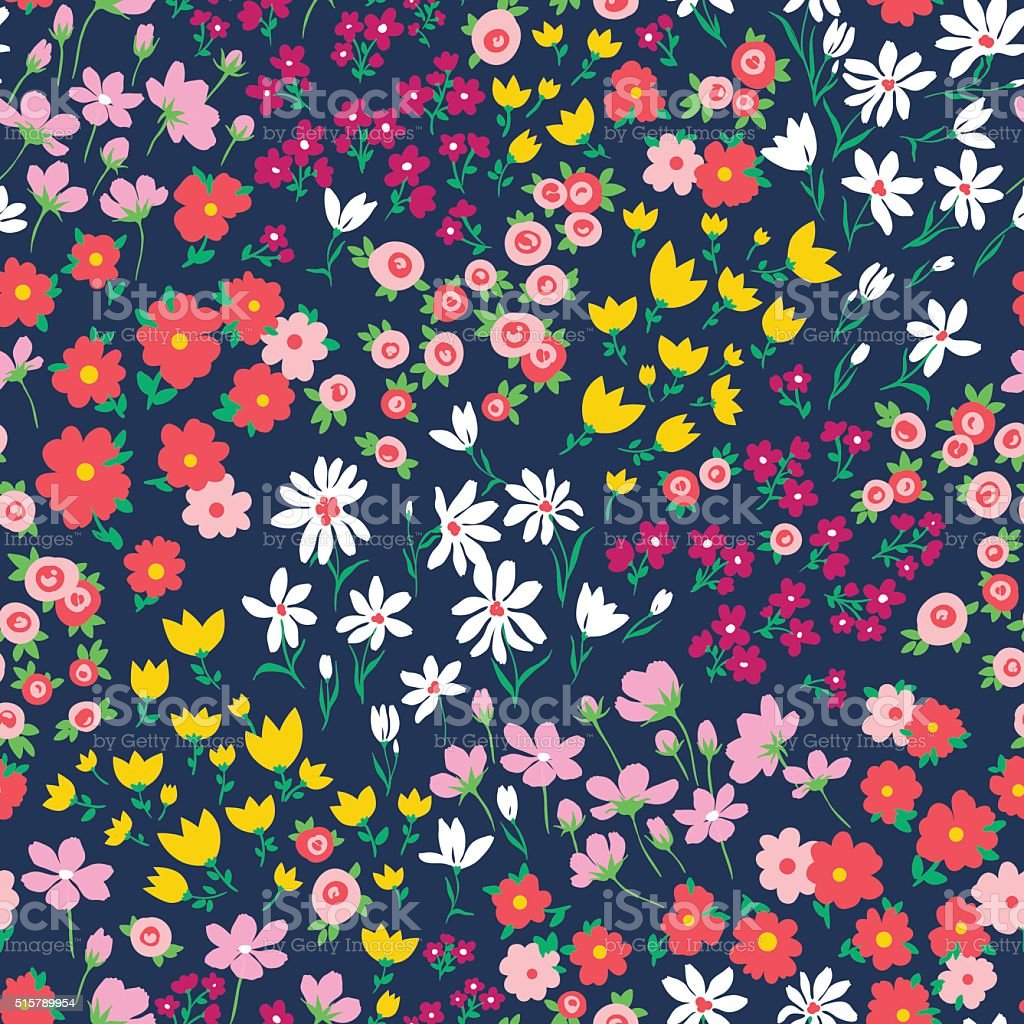 2015 Ditsy Floral Design: Vector Seamless Bright Gentle Ditsy Floral Pattern Stock