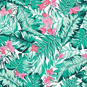 vector seamless bright green tropical paradise pattern with flowers, split leaf, philodendron, rain forest nature, summer time holidays, active tropics background print
