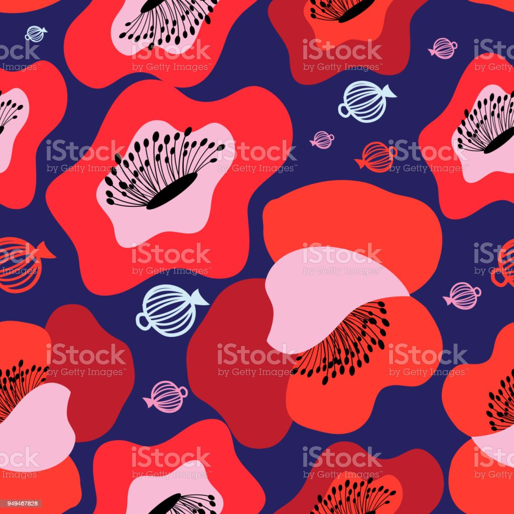 Vector seamless bright pattern of red poppies vector art illustration