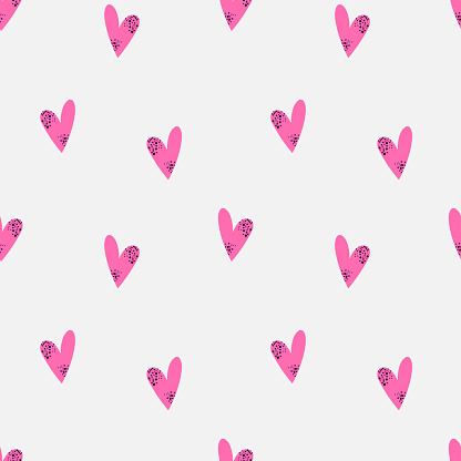 Vector seamless bright pattern with pink spotted hearts on a white background.
