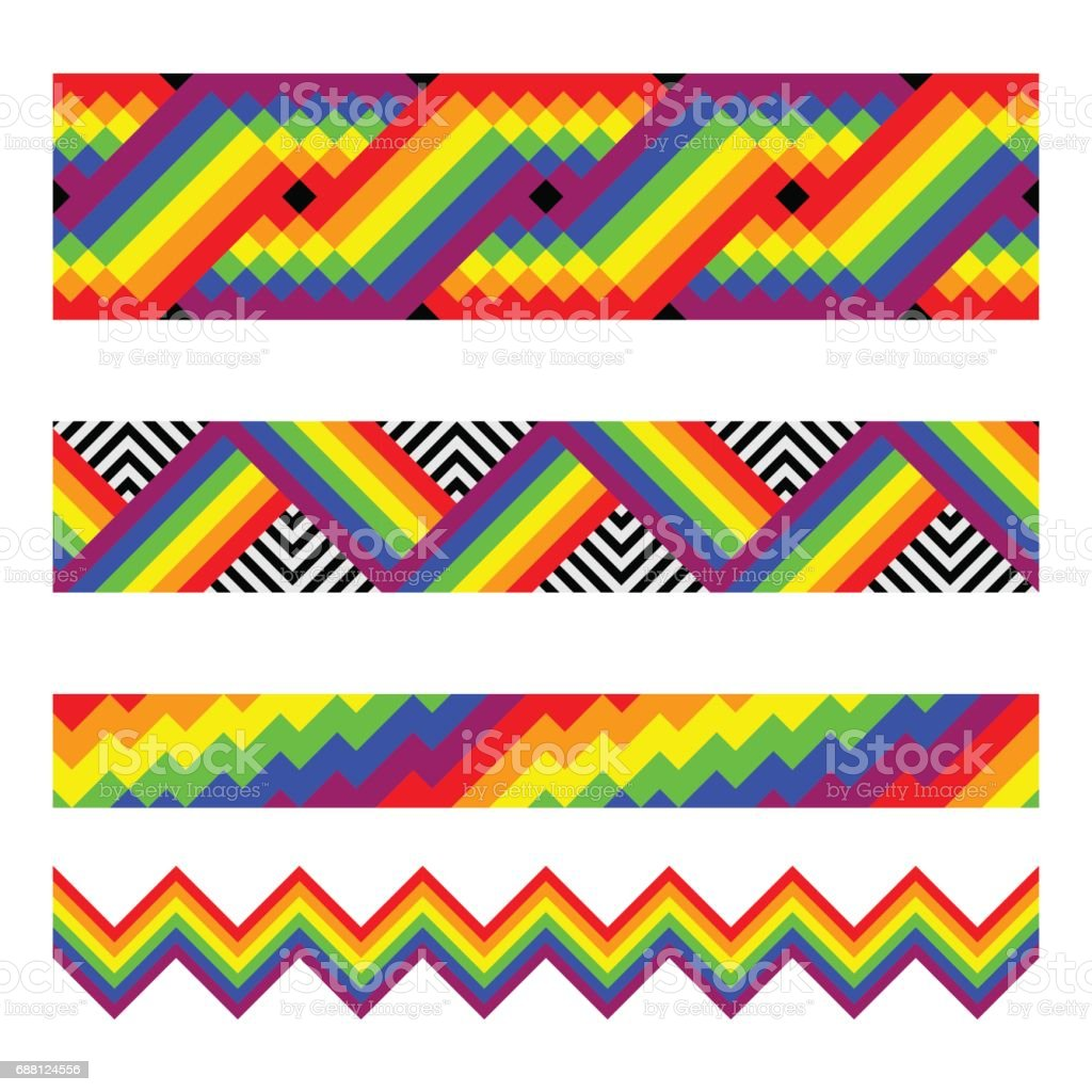 Vector seamless brushes in rainbow colors vector art illustration