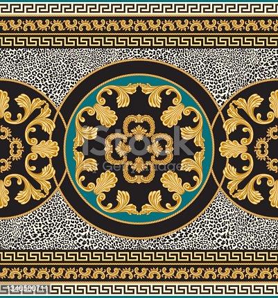 istock Vector seamless carpet border print on a beige leopard skin pattern background. 1340500711