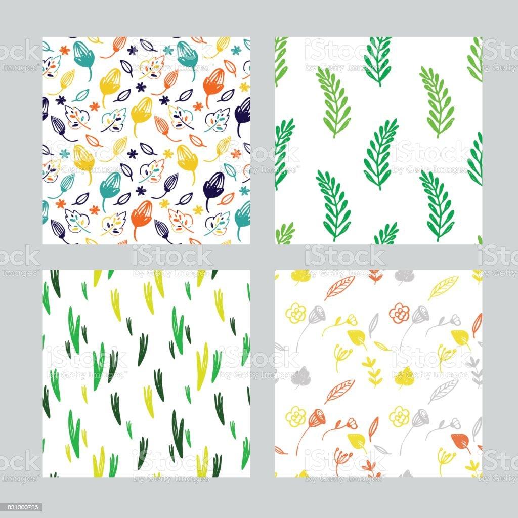 ベクトル漫画のシームレスな花パターン セットかわいい手紙繊維手作りの