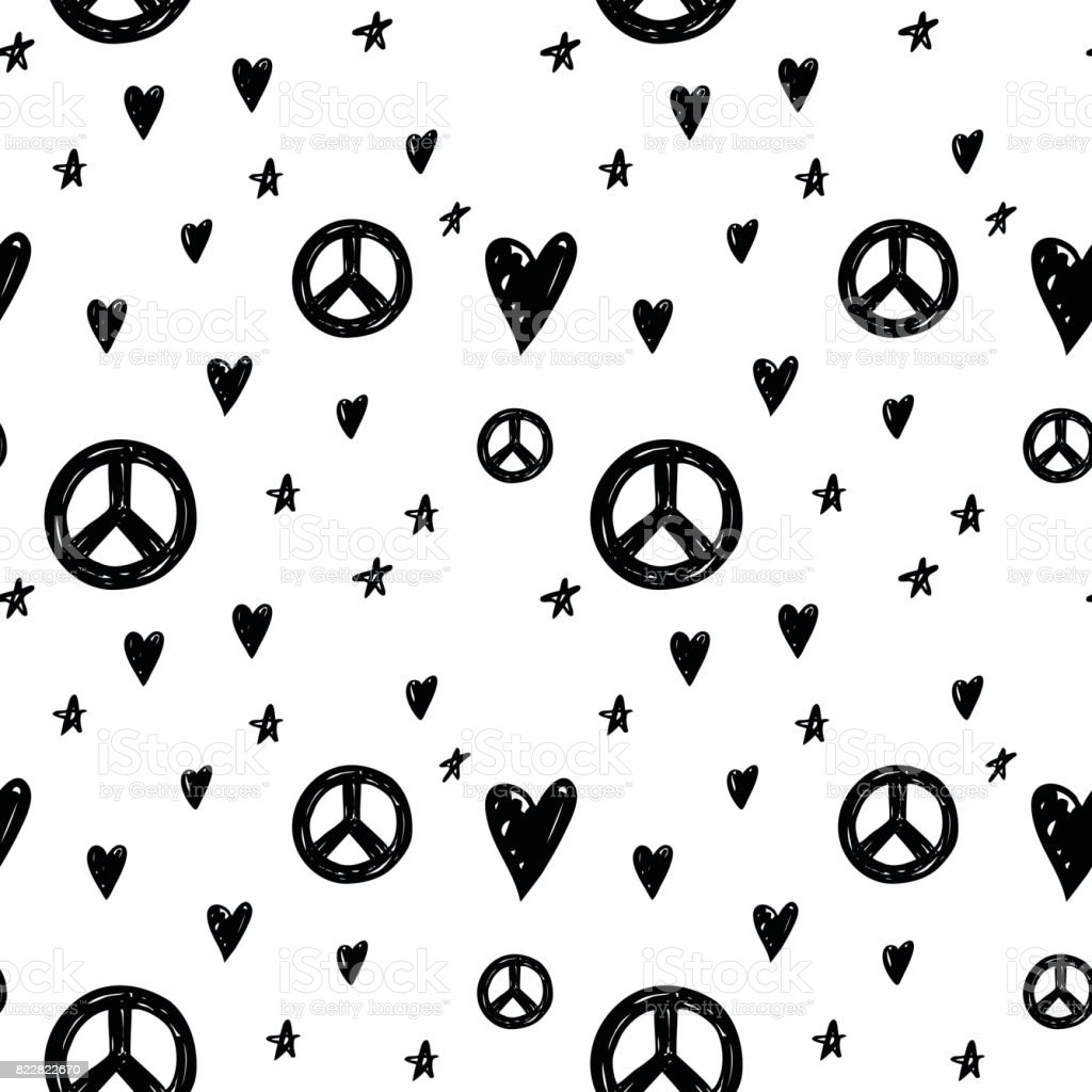 Vector seamless cartoon pattern with peace sign hearts and stars vector seamless cartoon pattern with peace sign hearts and stars hand drawn black and biocorpaavc