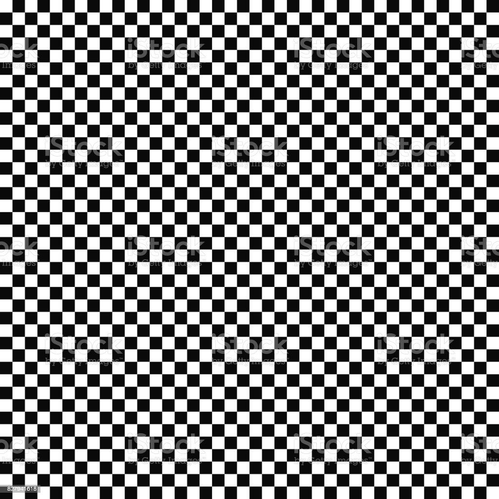 Vector seamless checkered flag pattern. Geometric texture. Black-and-white background. Monochrome design. vector art illustration
