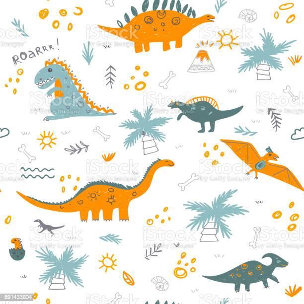 Vector seamless childish pattern with colorful dinosaurs vector id891433604?b=1&k=6&m=891433604&s=612x612&h=h8ehvehwaldwptkvp2t57jitqtnm8 qlupqawuyh5va=