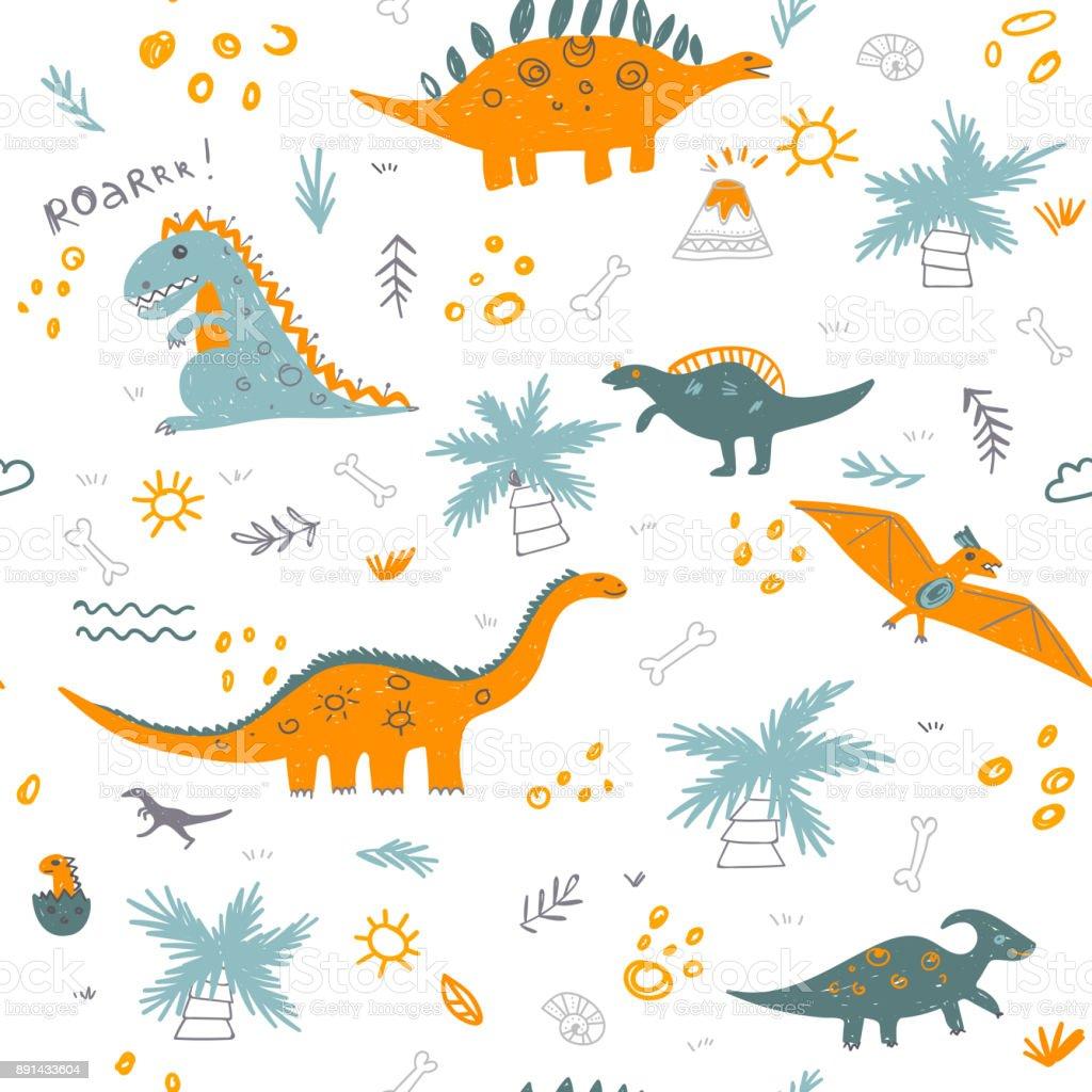 Sem costura padrão infantil de vetor com dinossauros coloridos - ilustração de arte em vetor