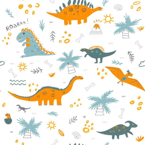 Vector seamless childish pattern with colorful dinosaurs Vector seamless childish pattern with colorful dinosaurs, vulcan, palm tree, shell. Can be printed and used as wrapping paper, wallpaper, fabric, textile, background, etc bedroom backgrounds stock illustrations