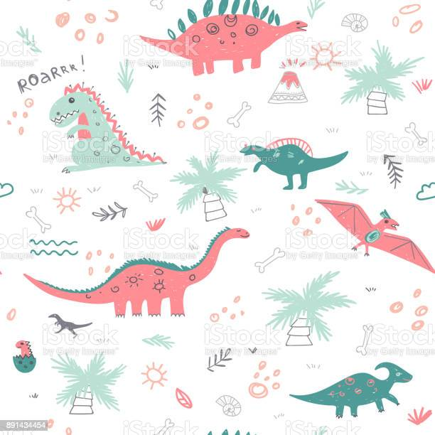 Vector seamless childish pattern with colorful dinosaurs vector id891434454?b=1&k=6&m=891434454&s=612x612&h= 2jdh8zi0obm5 qjhx jqvdbzoszxjfihcj6bxy ijc=