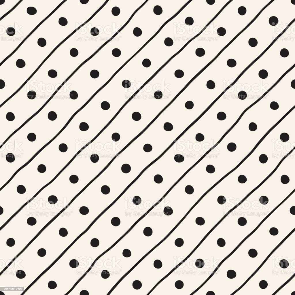 Vector Seamless Childlike Pattern. Monochrome Hand Drawn Geometric Shapes Texture vector art illustration