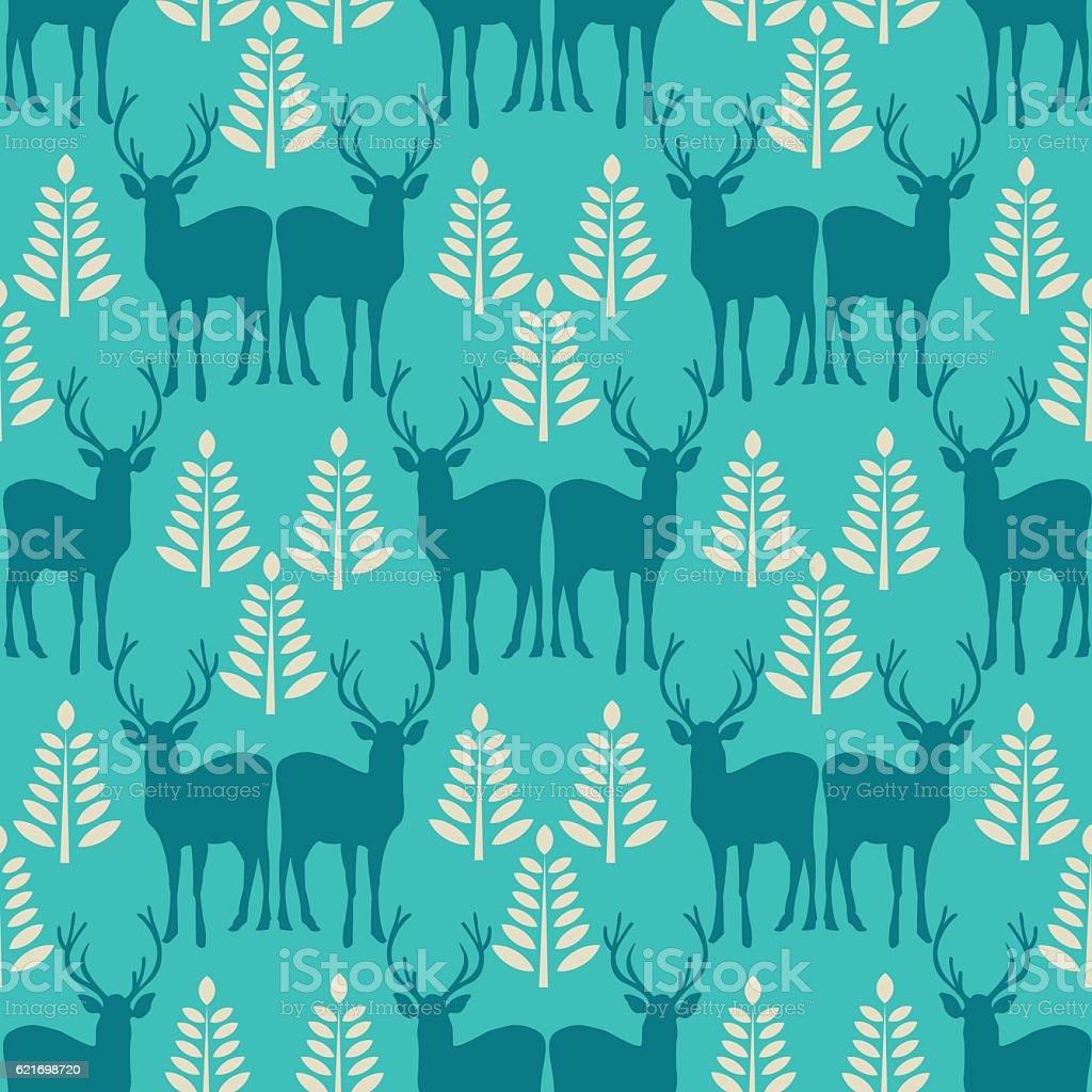 Vector seamless Christmas pattern with deer. vector art illustration