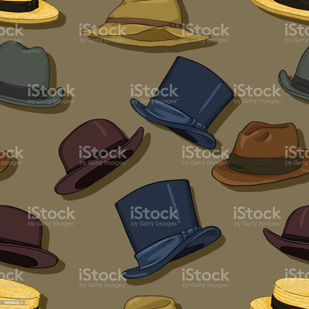 Vector Seamless Classical Hats Pattern Background - Royalty-free Adult stock vector