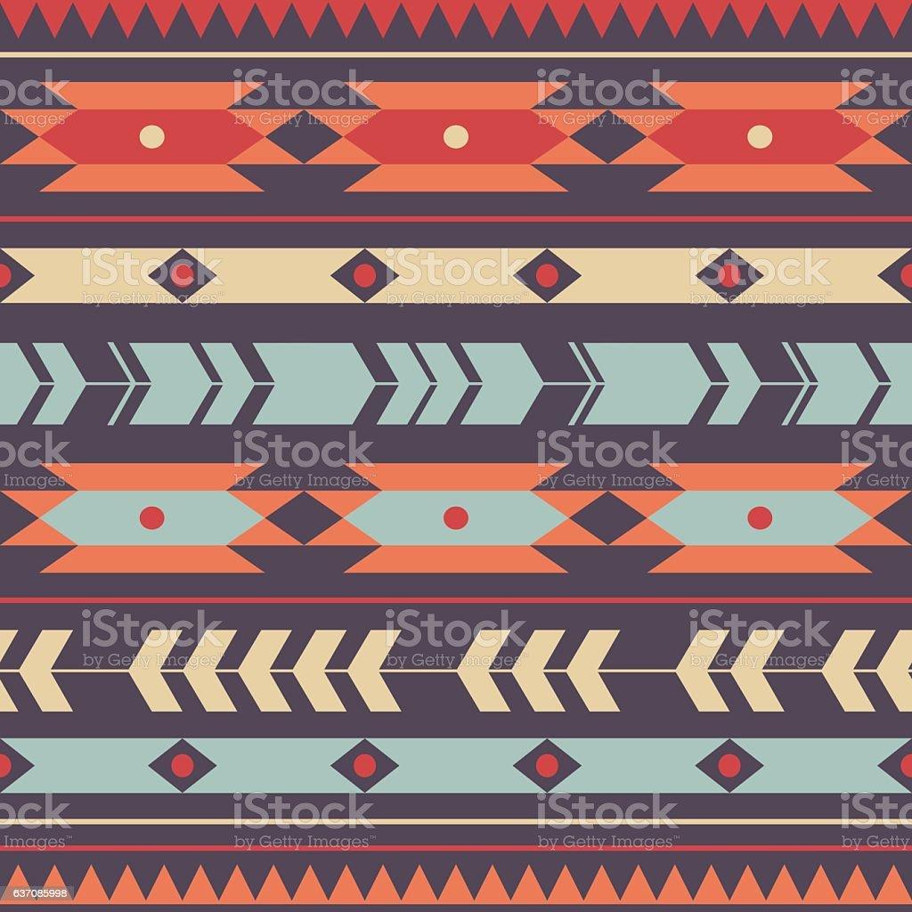 Vector seamless colorful decorative ethnic pattern - ilustração de arte em vetor