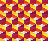 Vector Seamless Colorful Pink Red Yellow Geometric Blocks Isometric Tiling
