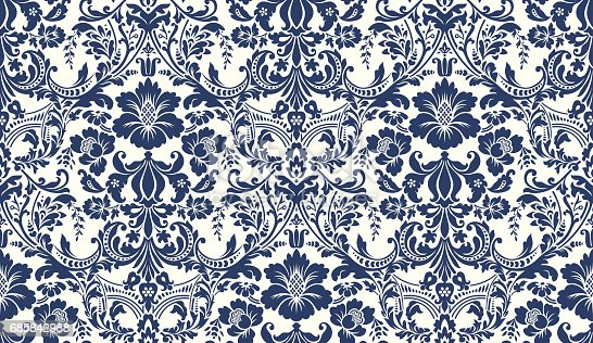 istock Vector seamless damask pattern. Blue and ivory image. Rich ornament, old Damascus style pattern for wallpapers, textile, Scrapbooking etc. 685842988