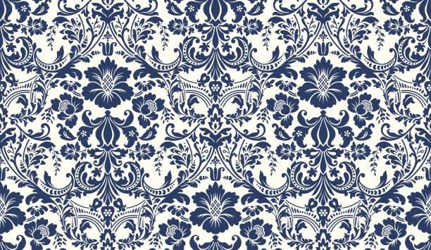 向量無縫錦緞模式。藍色和象牙圖像。豐富的裝飾, 舊大馬士革風格的圖案壁紙, 紡織品, 刮板等。 - 錦緞 幅插畫檔、美工圖案、卡通及圖標