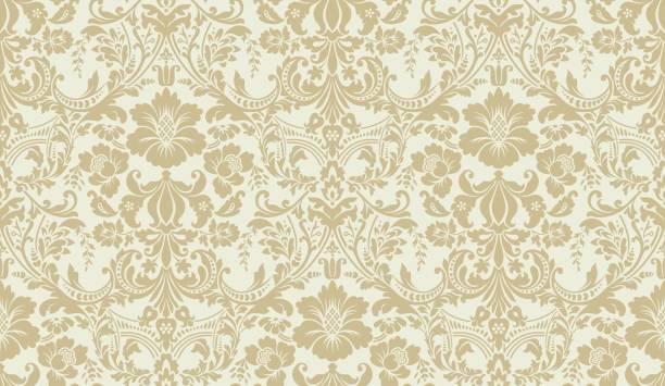 向量無縫錦緞圖案。金色和象牙的形象。豐富的裝飾, 舊的大馬士革風格牆紙, 紡織品, 剪貼簿等圖案。 - 錦緞 幅插畫檔、美工圖案、卡通及圖標