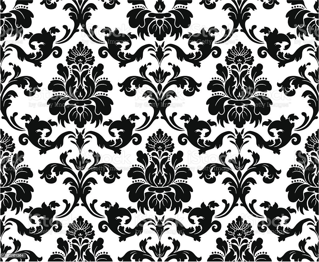 Black And White Floral Pattern Wallpaper: イラストレーションのベクターアート素材や画像を多数ご用意