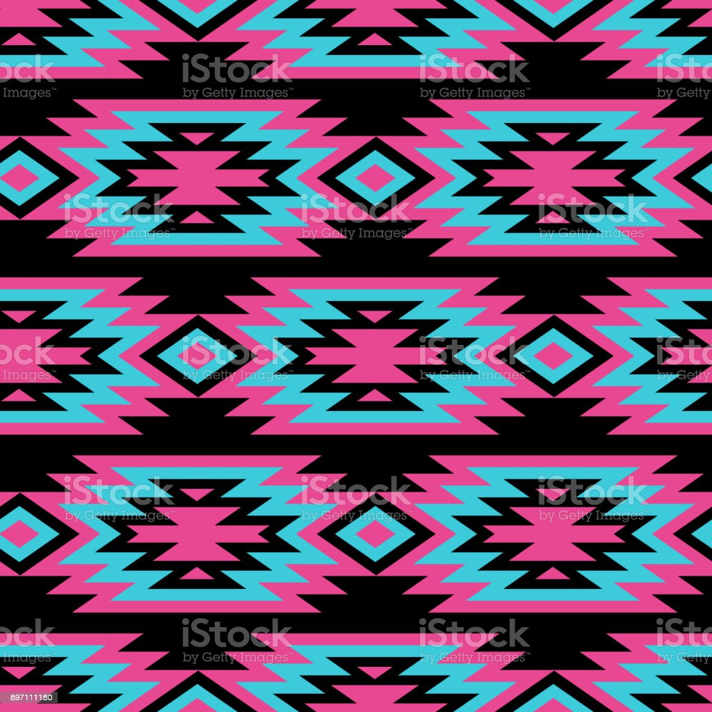 Vector Seamless Decorative Ethnic Pattern American Indian Motifs