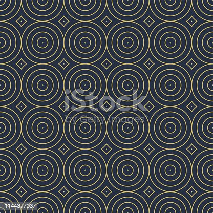 Vector seamless decorative pattern with geometric circles shapes. Abstract minimalistic blue background. Stylish golden texture.