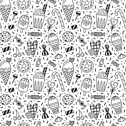 Vector seamless doodle pattern for Valentine's Day with sweets and ice cream.