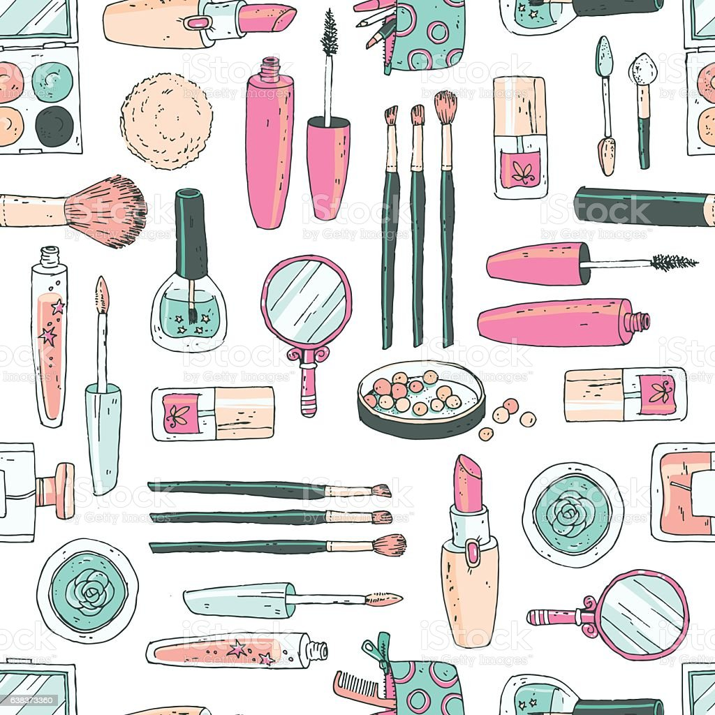 Vector seamless doodle pattern with cosmetic tools. Pastel color