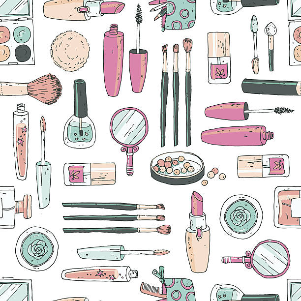 vector seamless doodle pattern with cosmetic tools. pastel color - make up mode stock-grafiken, -clipart, -cartoons und -symbole