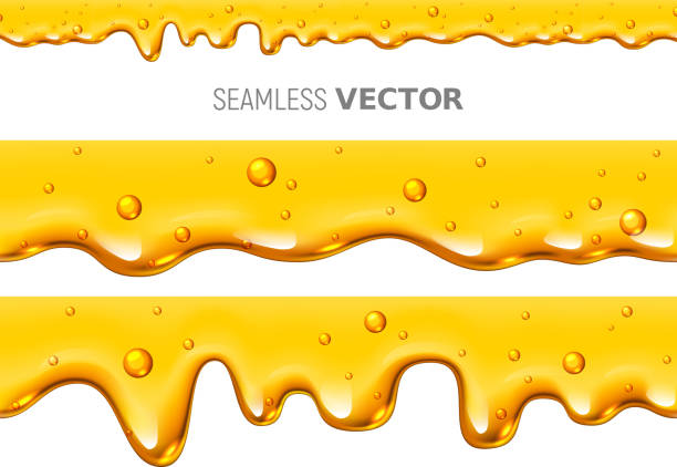 vector seamless dripping honey on white background - honey drip stock illustrations, clip art, cartoons, & icons