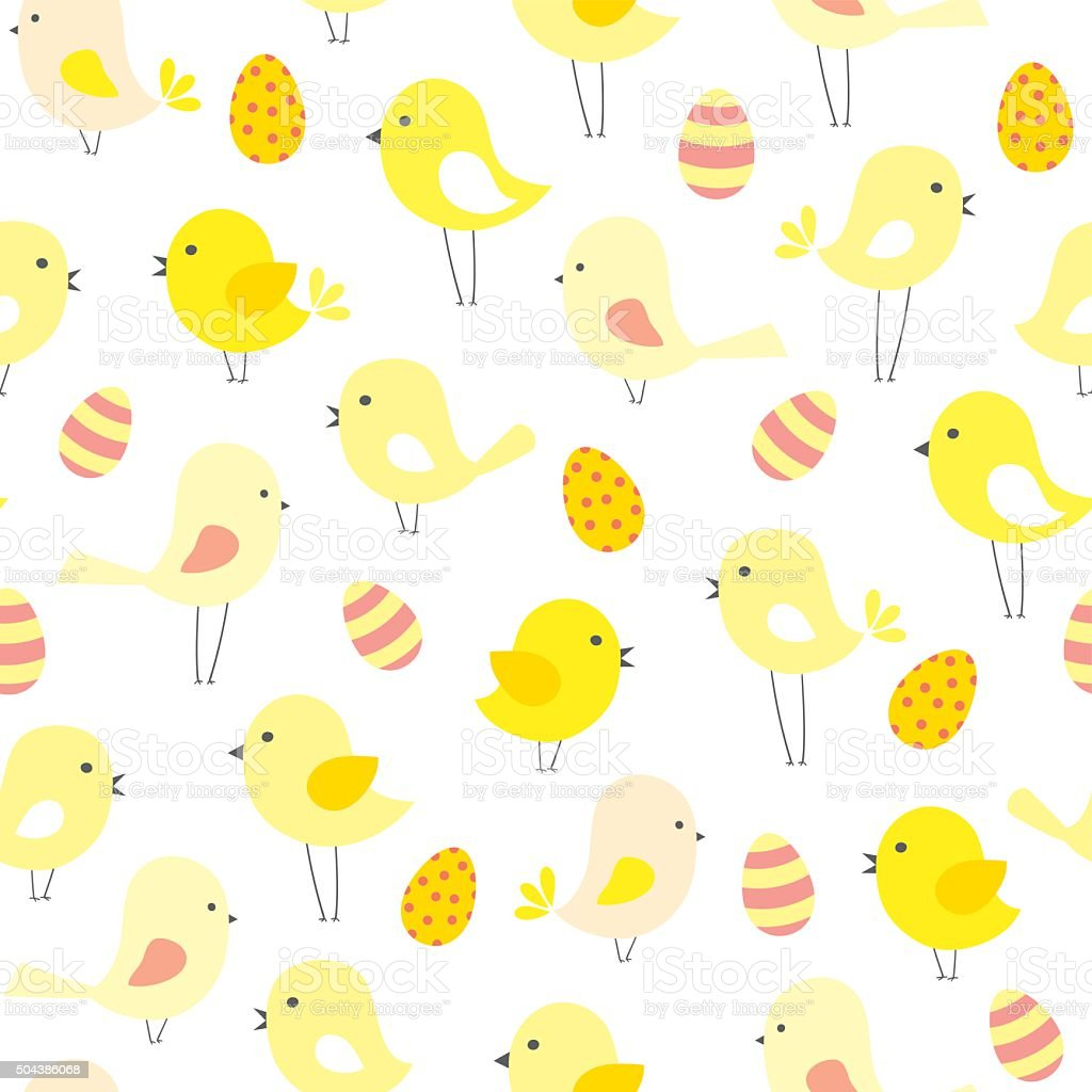 vector seamless Easter pattern with  birds and eggs vector art illustration