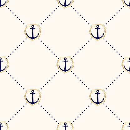 Vector seamless elegance pattern with anchors in golden frames and polka dot. Nautical background in minimalistic style. Vintage maritime backdrop for wedding invitations, paper, card, textile