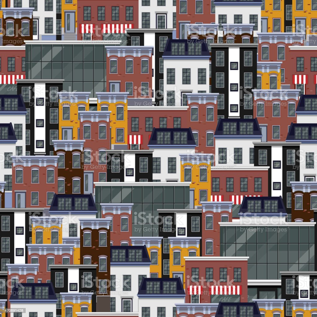 vector seamless flat pattern with different city buildings. citycape...