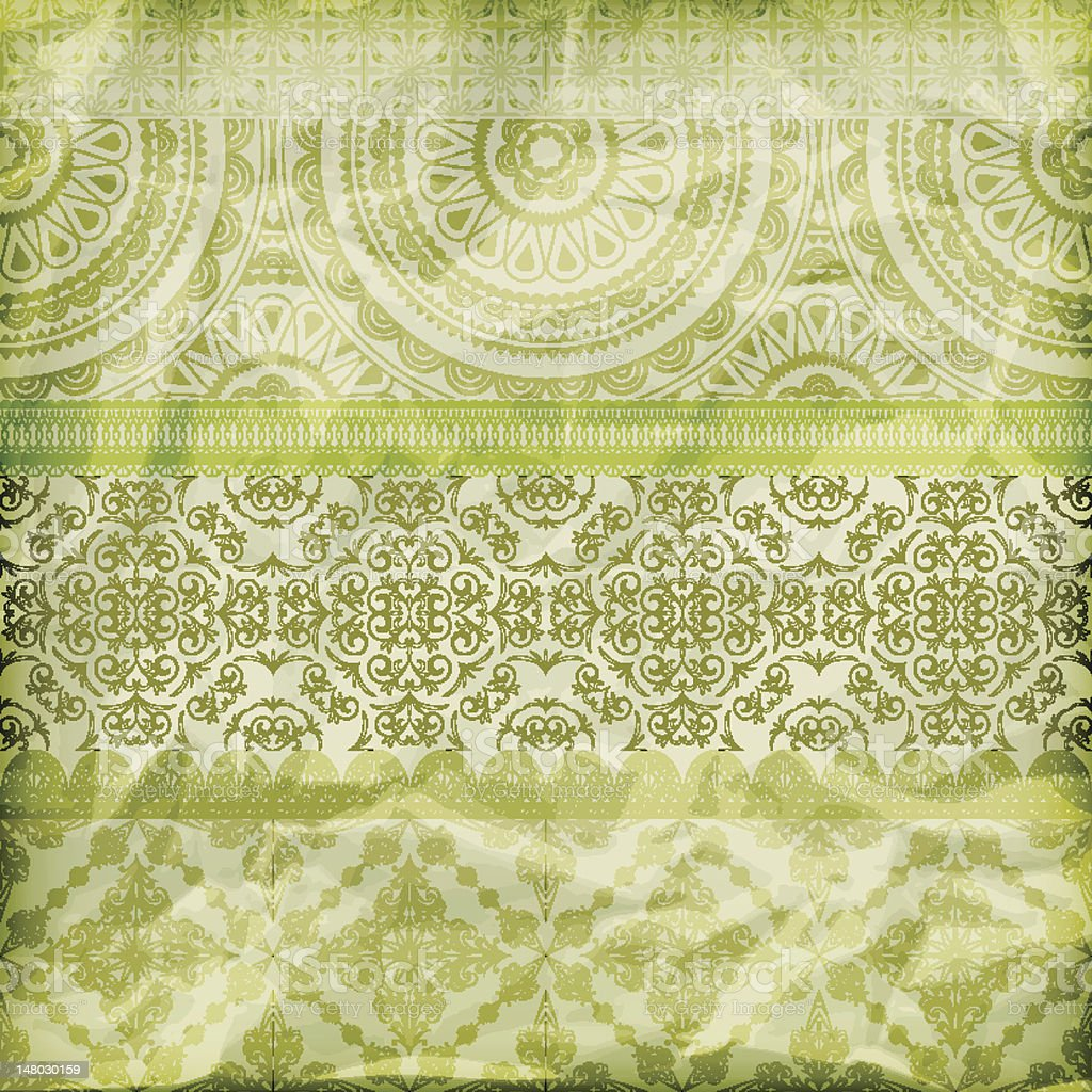 vector seamless floral borders on  crumpled green foil  paper texture royalty-free stock vector art