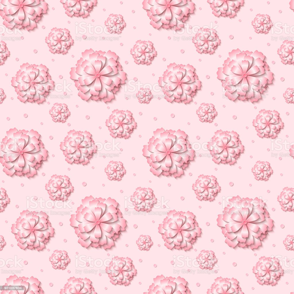 Vector Seamless Floral Pattern Background With 3d Pink Paper Cut Out