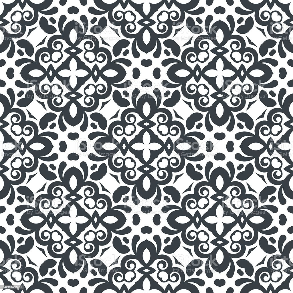 Vector Seamless Floral Pattern Black And White Colors Abstract