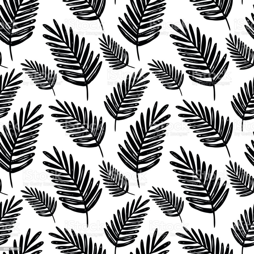 Vector Seamless Floral Pattern Black And White Hand Drawn Palm Branch For Paper